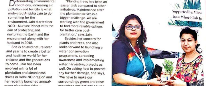 Environmentalist Anubha Jain featured in Femina India Anniversary Edition October 2019